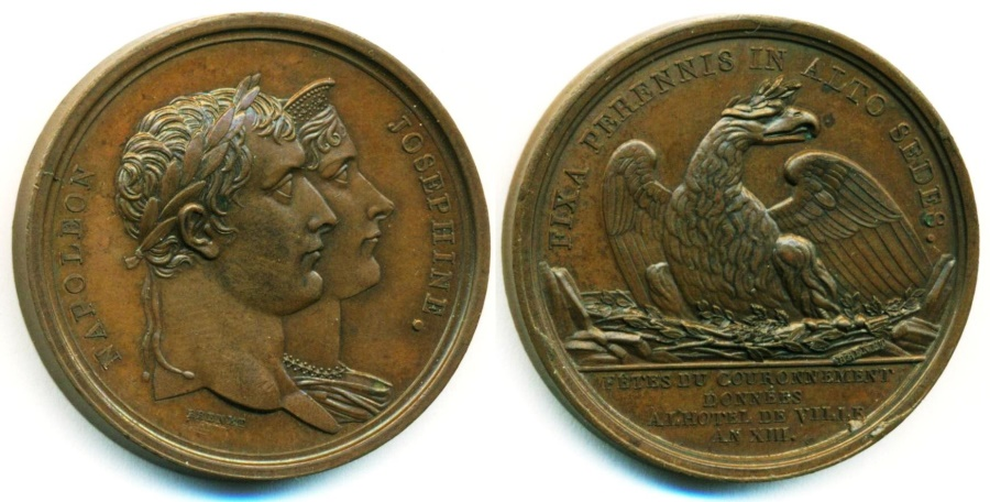 World Coins - France: Original Emperor Napoleon I Coronation Medal Struck AN XIII 1804 Superb UNC. RARE!