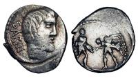Ancient Coins - ROMAN REPUBLIC.  L. Titurius L.f. Sabinus, 89 BC.  AR Denarius …
