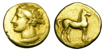 Ancient Coins - ZEUGITANIA, Carthage.  290-280 BC.  Electrum Stater.