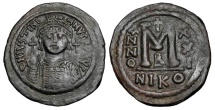 Ancient Coins - BYZANTINE EMPIRE.  Justinian I, 527-565 AD.  AE Follis.