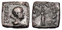 Ancient Coins - BAKTRIAN KINGDOM.  Straton I 125-110 BC.  Rectangular Æ Hemiobol.