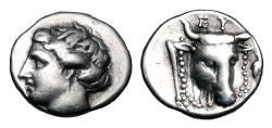 Ancient Coins - EUBOIA, Eretria.  369-313 BC.  AR Drachm.