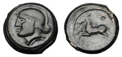 Ancient Coins - CELTIC GAUL, Suessiones.  CRICIRV series, after 52 BC.  AE Unit.  ex PNC Collection.