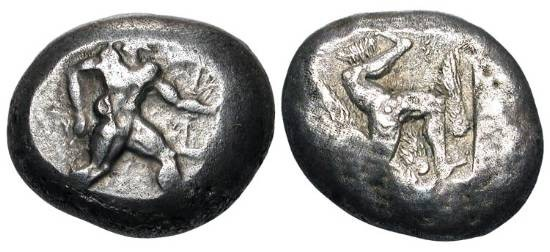 Ancient Coins - PAMPHYLIA, Aspendos.  465-430 BC.  AR Stater (10.58 gm).  Warrior with bow and sword advancing / Triskelis on eagle in incuse square.  SNG.Fr.3.  Toned aVF.  Rare.