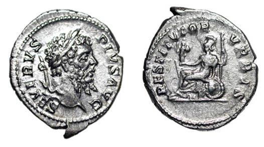 Ancient Coins - SEPTIMIUS SEVERUS, 193-211 AD.  AR Denarius (3.43 gm).  Laureate head / Roma seated on shield, holding palladium and spear.   RSC.606a.  XF
