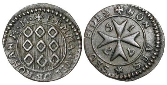 World Coins - MALTA, Knights of St. John.   Emmanuel de Rohan, 1775-1797 AD.  Æ Grano (1.38 gm), 1776.  Arms / Maltese cross, date around.   Ras.106.  aXF, brown patina.