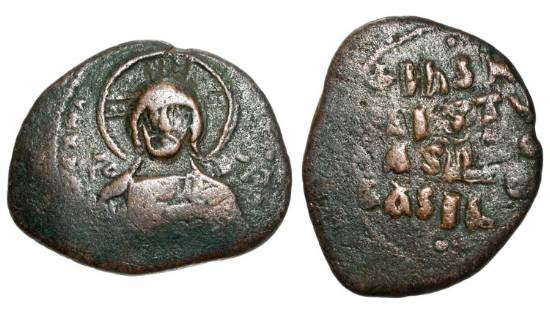 """Ancient Coins - BYZANTINE EMPIRE.  Constantine VIII, 1025-1028 AD.  Æ """"Anonymous"""" Follis, Class A3 (8.93 gm) of Constantinople.  Facing bust of Christ / Legend.  S.1813.  aVF, olive brown patina."""