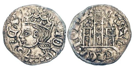 World Coins - SPAIN, Castille and Leon. Juan I, 1379-1390 AD.  AR Cornado (0.68 gm) of Leon.  Crowned bust / Castle.. FAB.567.  Toned XF. Planchet voids.