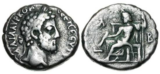 Ancient Coins - ROMAN EGYPT.  Commodus, 180-192 AD.  Billon Tetradrachm (10.23 gm), yr. 32.  Laureate head  / Zeus enthroned holding thunderbolt and sceptre.  Köln.2257.  VF.  Scarce.