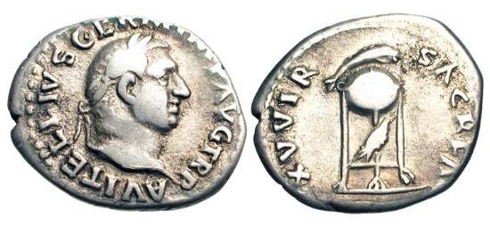 Ancient Coins - VITELLIUS, 69 AD.  AR Denarius (3.26 gm) of Rome.  Laureate head / Tripod-lebes topped by dolphin, raven beneath.    RIC.109(S).  Toned aVF.  Scarce.