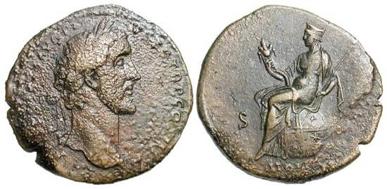Ancient Coins - ANTONINUS PIUS, 138-161 AD.  Æ Sestertius, 140-4.  Laureate head / Italia seated on globe (the World) holding cornucopia and sceptre.  RIC.746(a).