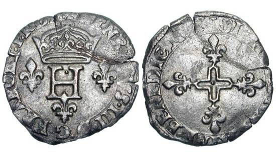 "World Coins - FRANCE.  Henri III, 1574-1589 AD.  AR Double Sou Parisis ""Pinatelle"", Catholic League coinage of uncertain mint, 1591 A.  Crowned arms flanked by H's / Cross with four crowns."