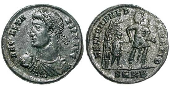 Ancient Coins - CONSTANS, 337-350 AD.  Æ Centenionalis (4.59 gm) of Kyzikos.  Diademed bust / Soldier leading captive from hut beneath tree.  RIC.73(S).  XF, black patina.