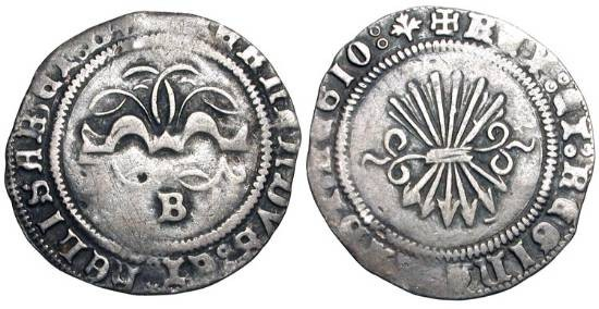 World Coins - SPAIN.  Ferdinand and Isabella, 1469-1504 AD.  AR Half Real (1.59 gm) of Burgos.  Yoke with traces / Sheaf of arrows.  C&C.2339ff.  Toned VF.