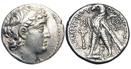 Ancient Coins - SELEUKID KINGDOM.  Demetrios II Nikator, second reign, 130-125 BC. AR Tetradrachm of Tyre, SE 184 = 129/8 BC.  Diademed head / Eagle standing on  prow.  SNG.Isr.2226.  VF+.