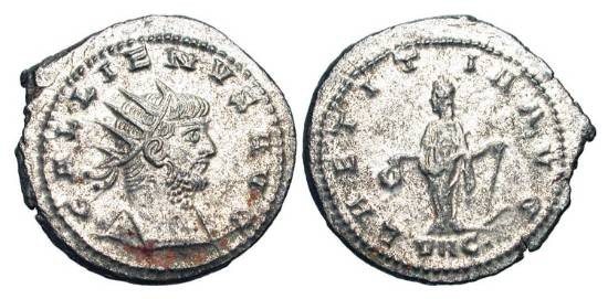 Ancient Coins - GALLIENUS, 254-268 AD.  Silvered Æ Antoninianus (4.24 gm) of Asia, 266-8.  Radiate head / Laetitia standing holding wreath and anchor.  RIC.606.  Toned Near Mint.