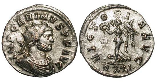 Ancient Coins - CARINUS, 283-285 AD.  Silvered Æ Antoninianus (3.08 gm) of Ticinum.  Radiate cuirassed bust / Victory advancing with wreath and palm, T in field.  RIC.304v.  XF.