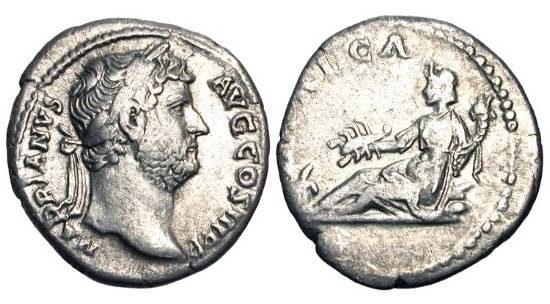 Ancient Coins - HADRIAN, 117-138 AD.  AR Denarius (2.91 gm).  Laureate head / Africa reclining.  RIC.299d.  Toned VF.  Marks Hadrian's travel to Africa in 128 AD.