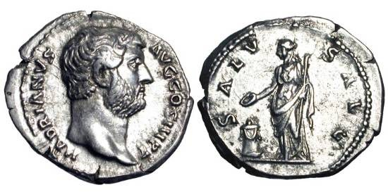 Ancient Coins - HADRIAN, 117-138 AD.  AR Denarius (3.17 gm). Bare head / Salus standing sacrificing at altar.  RSC.1328.  RIC.268.  aXF.