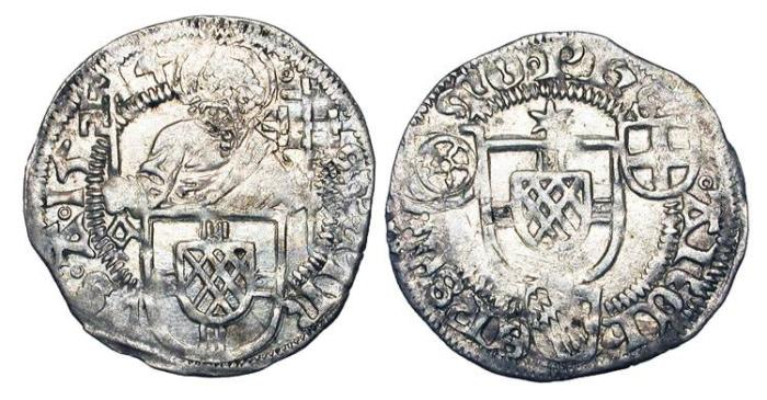 World Coins - GERMANY, Köln.  Phililipp II v Daun-Oberstein,  1508-1515 AD.  AR Schilling,1514.  St Peter holding key, arms below / Arms with three small arms around. Near Mint, weak areas.  …