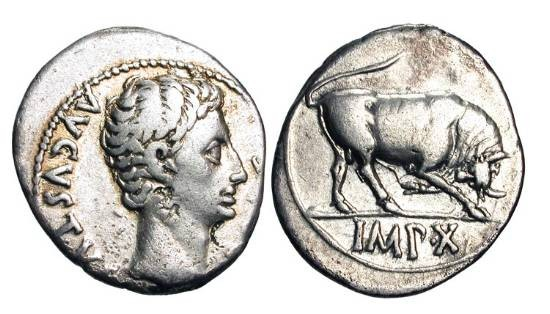 Ancient Coins - AUGUSTUS, 27 BC-14AD.  AR Denarius (3.71 gm) of Lugdunum 15-13 BC.  Bare head / Bull butting.  RSC.137.   RIC.167a(S).  Toned VF+