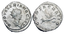 Ancient Coins - VALERIAN II, d. 255 AD.  AR Antoninianus, posthumous commemorative 256-259 AD of Lugdunum.  Radiate head / Valerian riding eagle to heaven.  RSC.5.  RIC.9. Toned VF+, as struck.  …