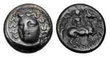Ancient Coins - THESSALY, Larissa.  III Century BC.  AE18 Dichalkon.
