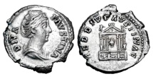 Ancient Coins - FAUSTINA SENIOR, wife of Antoninus Pius, 138-161 AD.  AR Denarius.
