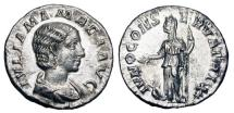 Ancient Coins - JULIA MAMAEA d.235 AD. AR Denarius (3.00 gm). Mother of Severus Alexander.  Draped bust / Juno standing, peacock at her feet. RIC.343. RSC.35. VF.