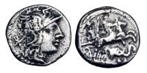Ancient Coins - ROMAN REPUBLIC.  L. Caecilius Metellus Diadematus, 128 BC.  AR Denarius