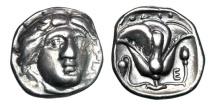 Ancient Coins - CARIA, Rhodes.  340-316 BC.  AR Didrachm.  ex Arpasi collection.