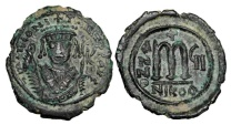 BYZANTINE EMPIRE.  Tiberius II Constantine, 578-582 AD.  AE Follis.  ex. Khriston collection