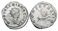 Ancient Coins - VALERIAN II, d. 255 AD.  AR Antoninianus, posthumous commemorative 256-259 AD of Lugdunum.  Radiate head / Valerian riding eagle to heaven.  RSC.5.  RIC.9. Toned VF+, as struck.  …
