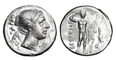 Ancient Coins - BRUTTIUM, The Brettii.  Punic Occupation, Time of Hannibal, 216-214 BC.  AR Drachm.