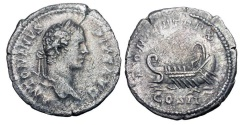 Ancient Coins - CARACALLA, 198-217 AD.  AR Denarius (3.03 gm), 207.  Laureate draped bust / Galley under oars.  RIC.98(R2).   Toned VF.  Scarce.