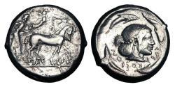 Ancient Coins - SICILY, Syracuse.  Deinomenid Tyranny, 485-466 BC.  AR Tetradrachm.