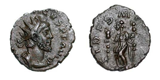 Ancient Coins - TETRICUS I, 270-273 AD.  Æ Antoninianus (2.49 gm).  Radiate cuirassed bust / Fides standing with two standards.  RIC.68.  aXF.  ex Boyd