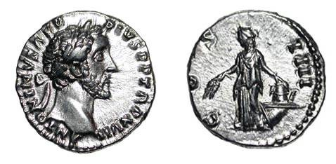 Ancient Coins - ANTONINUS PIUS, 138-161 AD.  AR Denarius (3.55 gm) of Rome 154 AD.  Laureate head / Annona standing with grain-ears and modius on prow.  RSC.291.  XF.