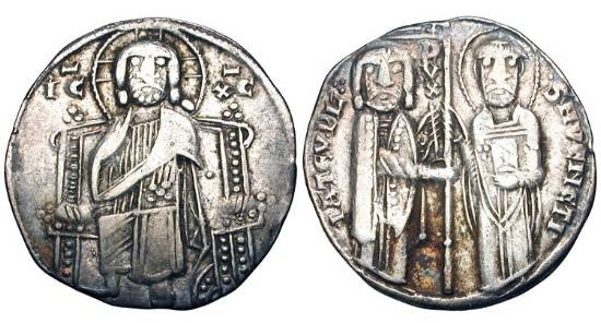 World Coins - ITALY, Venice.  Iacopo Tiepolo, 1229-1249 AD.  AR Grosso (2.09 gm).  Christ enthroned / St. Mark and the Doge standing.  Paol.17.1.  Toned VF.