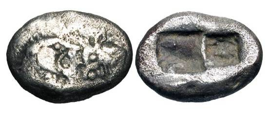 Ancient Coins - .LYDIAN KINGDOM.  Kroisos, 561-546 BC.  AR Third Stater (3.39 gm).  Forepart of lion and bull confronted / Double incuse square.  Rosen.666.  Toned VF.