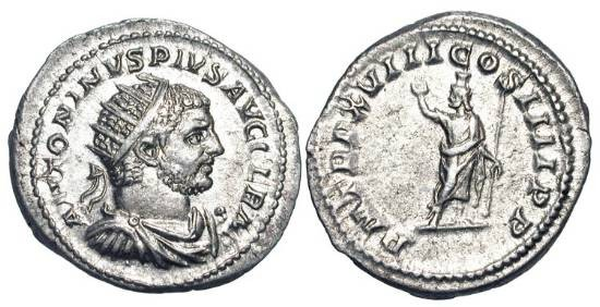 Ancient Coins - CARACALLA, 198-217 AD.  AR Antoninianus (5.12 gm) of 215 AD.  Radiate head / Serapis, modius on head, holding scepter.  RSC.349a.  RIC.263.  Toned XF.  Scarce.