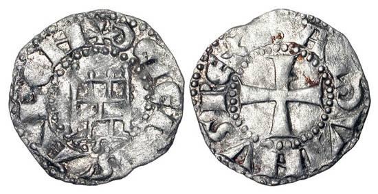 "World Coins - KINGDOM OF JERUSALEM.  Baldwin III, 1143-1161 AD.  AR Denier (0.91 gm), ""Rough"" series. Cross / Tower of David.  MPS.14.  aXF."