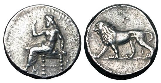 Ancient Coins - BABYLON.  328-311 BC.  AR Tetradrachm (16.65 gm).  Baal enthroned holding sceptre / Lion walking.  BMC.36.  SNG. Del.3005.  Toned VF+.
