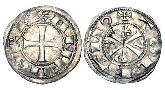 World Coins - SPAIN, Castile and Leon.  Alfonso VI, 1073-1109 AD.  AR Dinero (1.11 gm) of Toledo.  Cross / Christogram.  C&C.973.  AB.5.  Toned VF+.   Time of El Cid