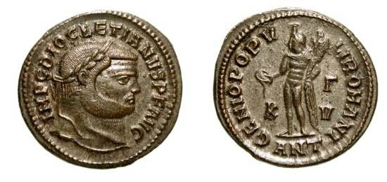 Ancient Coins - DIOCLETIAN, 285-305 AD.  Æ Follis (9.77 gm) of Antioch 300-301 AD.  Laureate head / Genius standing holding patera and cornucopiae.  RIC.54a. aXF, dark brown patina.