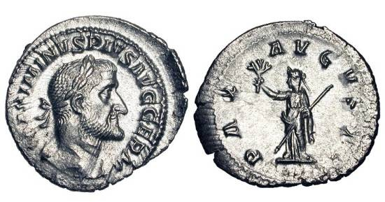 Ancient Coins - MAXIMINUS I THRAX, 235-238 AD.  AR Denarius (2.31 gm), 236-8.  Laureate draped bust / Pax standing holding branch and sceptre.   RIC.19.  XF