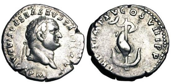 Ancient Coins - TITUS, 79-81 AD.  AR Denarius (3.38 gm) 80 AD.  Laureate head / Dolphin coiled around anchor.  RSC.309.  RIC.26b.  Toned VF+