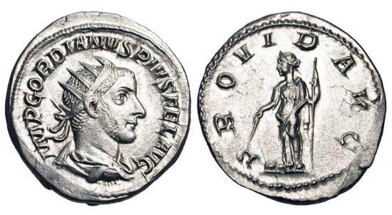 Ancient Coins - GORDIAN III, 238-244 AD.  AR Antoninianus (4 .93gm).  Radiate draped bust / Providentia standing holding baton over globe and sceptre.  RIC.148.  Near Mint