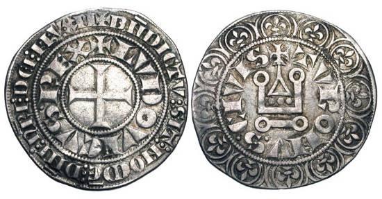 World Coins - FRANCE.  Saint Louis IX, 1226-1270 AD.  AR Gros Tournois (3.78 gm).  Cross / Châtel tournois.  DuP.190.  Toned VF.