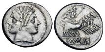 Ancient Coins - ROMAN REPUBLIC,  Anon.,  225-212  BC.   AR Quadrigatus